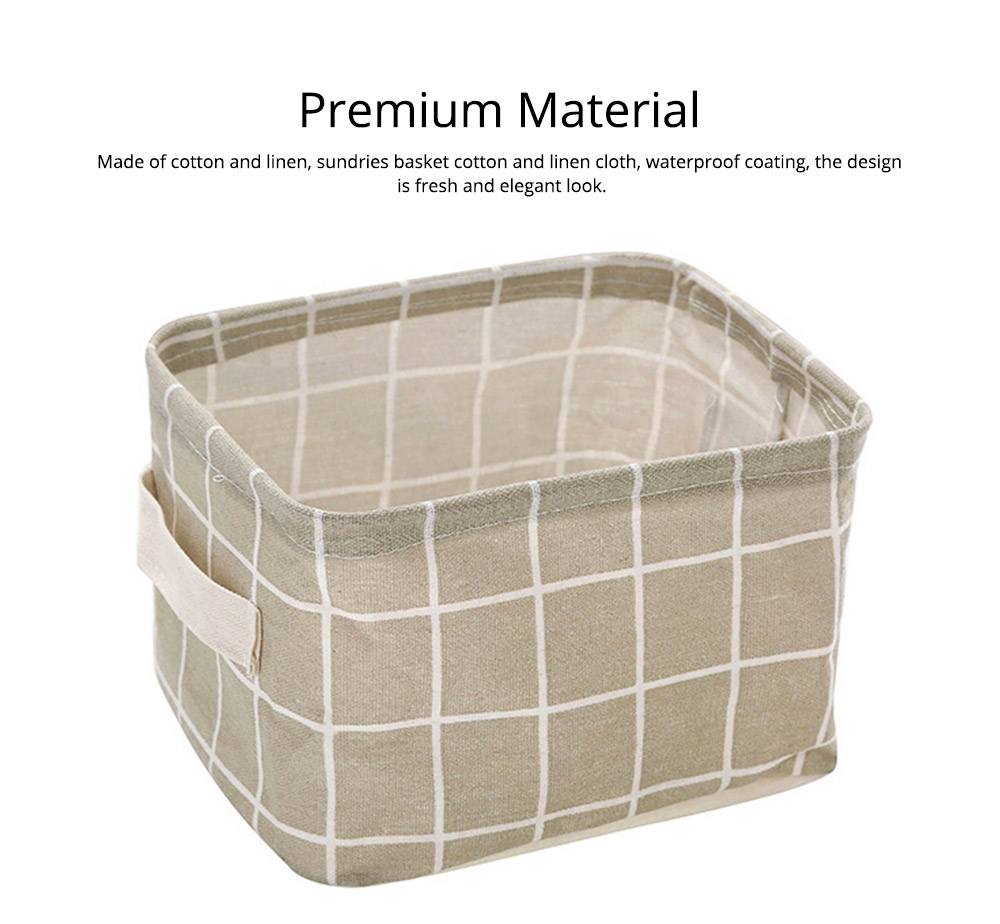Strong Durable Fresh & Elegant Cotton Linen Storage Basket with Double Handle for Magazine, Toys, Snacks 1