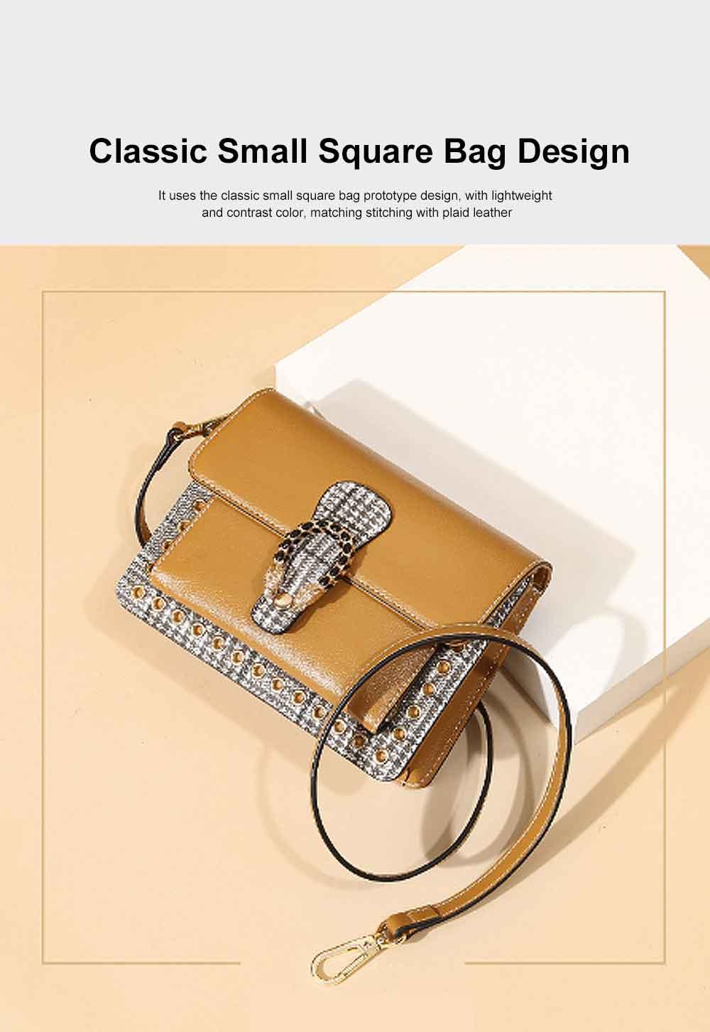 Contrast Color Small Square Bag, Fashion Handbag Shoulder Slung Bag for Female, Summer 2019 1