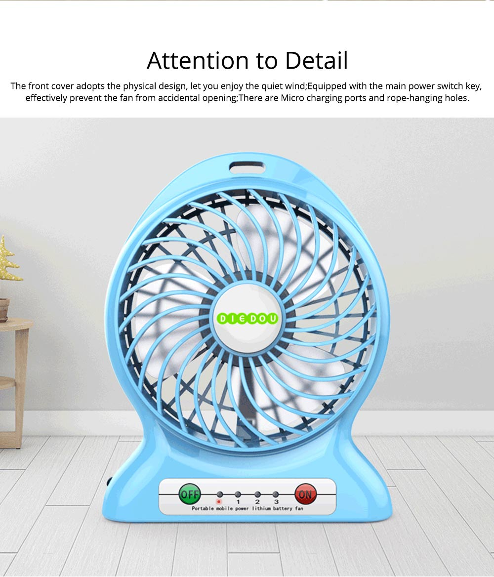 Silent USB Mini Fan with Three Wind Speed, Outdoor Portable Hand Held Mini Fan with Large Capacity Charging 6