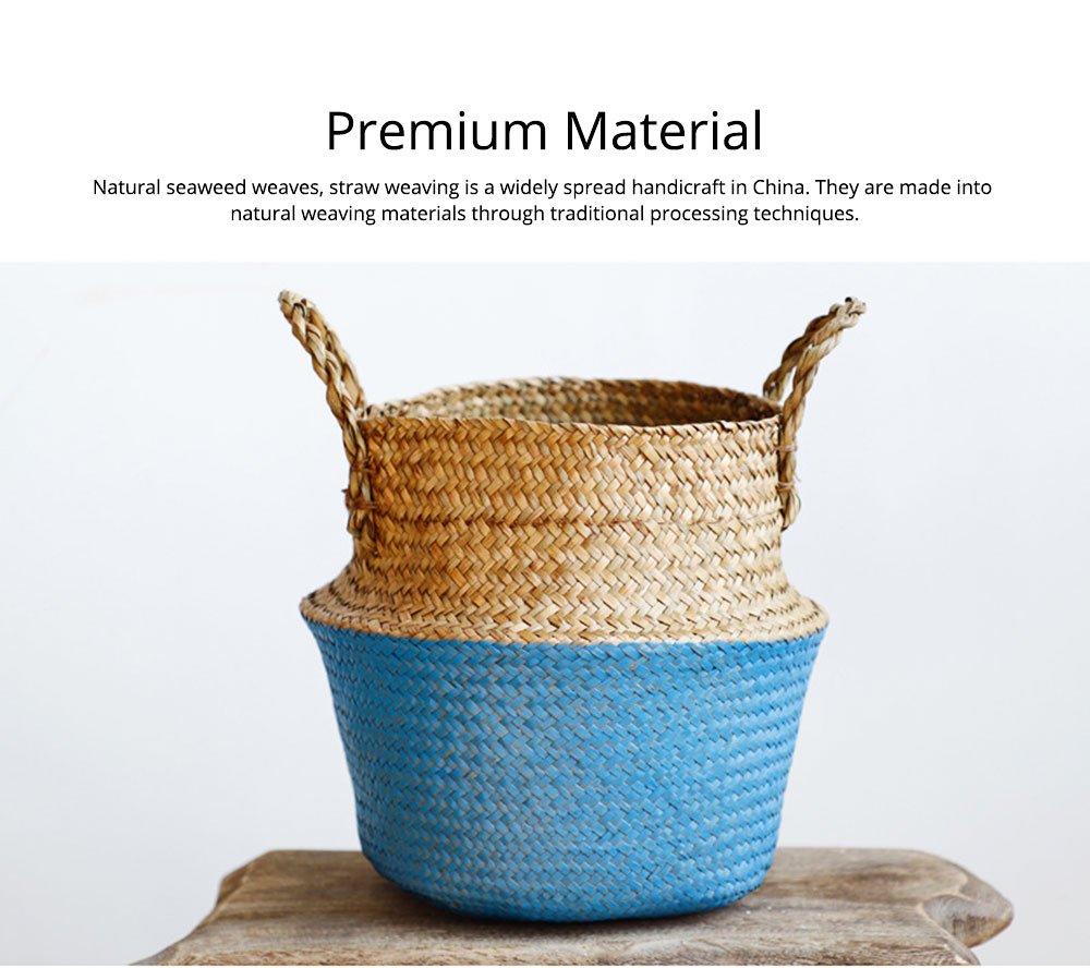 Straw Plait Collapsible Storage Basket to Contain Handle, Green Plant Flower Basket Flower Implement Rattan Woven Home Goods Basket 1