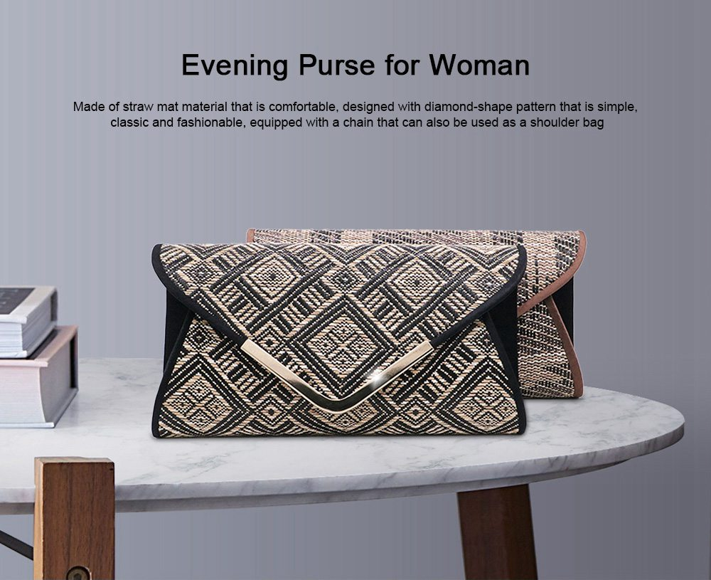 Weave Evening Purse for Woman, Fashionable Hand Clutch Bag, Diamond-shape Handbag for Party, Banquet Chain Bag Shoulder Bag 0