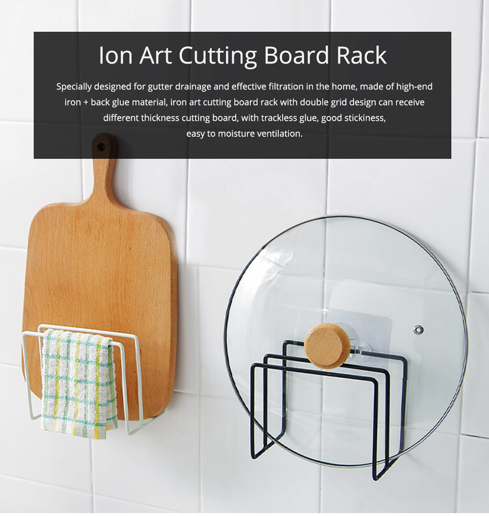 Multi-purpose Ion Art Cutting Board Rack with Double Compartment Storage Design, Washable & Bearing High Cutting Board Storage Rack 0