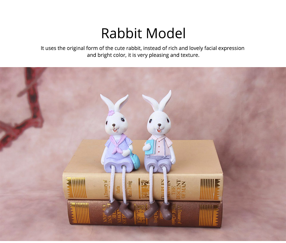 Little Pure Resin Rabbit with Bright Color & Cute Face Expression for Crafts, Couple Gifts Rabbit Creative Decorations, Birthday Gifts 2