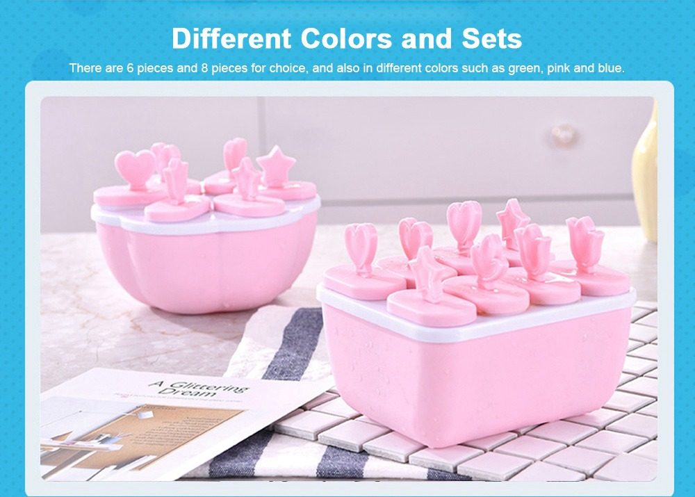 DIY Ice Cream Popsicles Mould Set, 6pcs 8pcs Homemade Ice Cream Set, DIY Safe Ice Cream Mold Maker Hollow Design 5