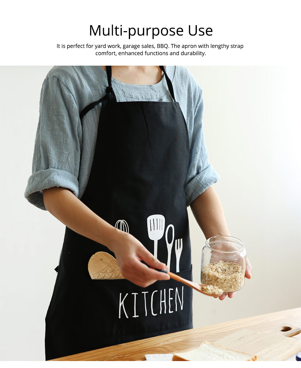 Creative Cotton Cutlery Pattern Apron with Adjustable 3 Pockets Design for Professional for BBQ, Baking, Cooking for Men & Women 2