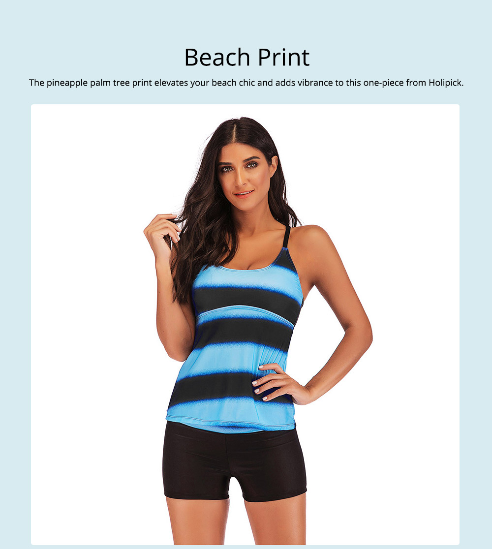 Full-size Flounce Swimsuit Digital Print Fission Swimsuit Slimming, Straps Slimming Swimsuit with Various Style 4