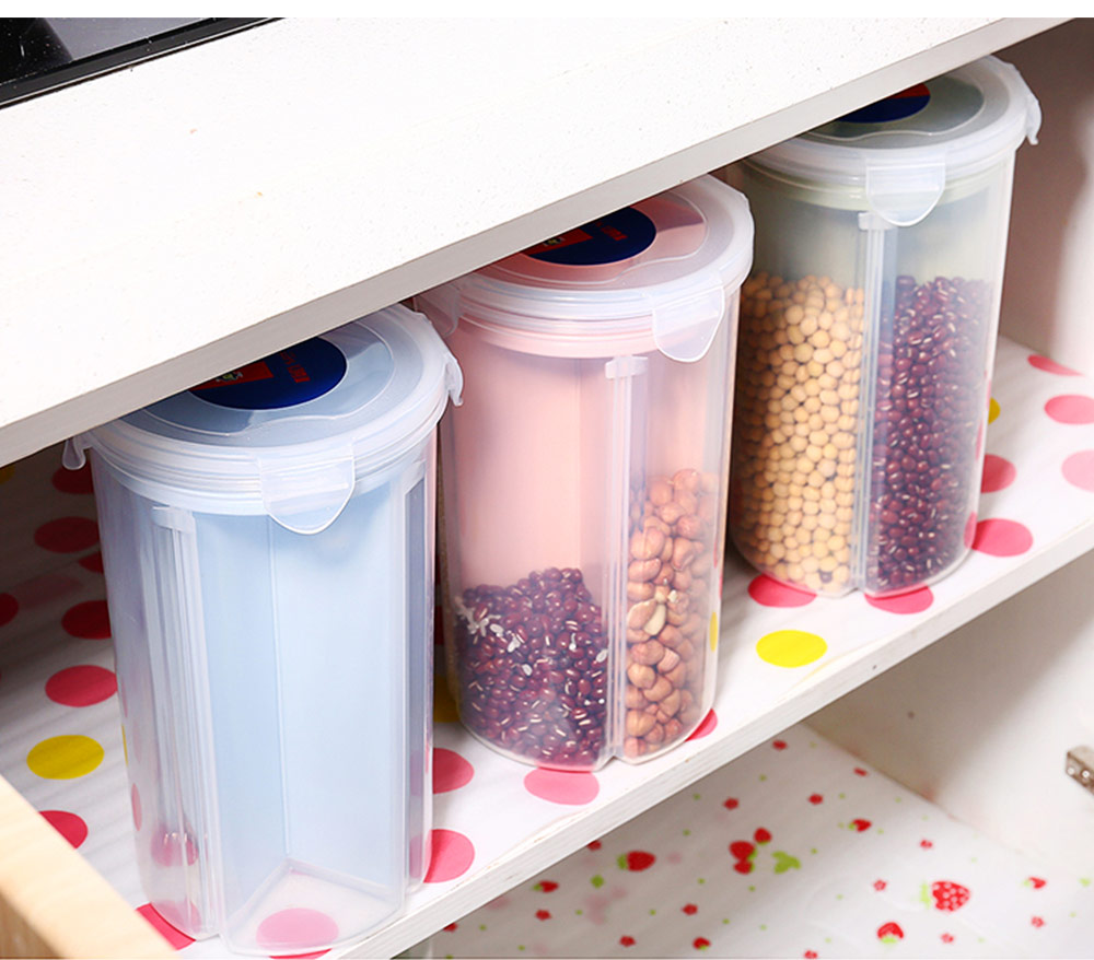 Multi-purpose Storage Convenient Transparent Four-compartment Sealed Grain Jar with Grid Classification Design 8