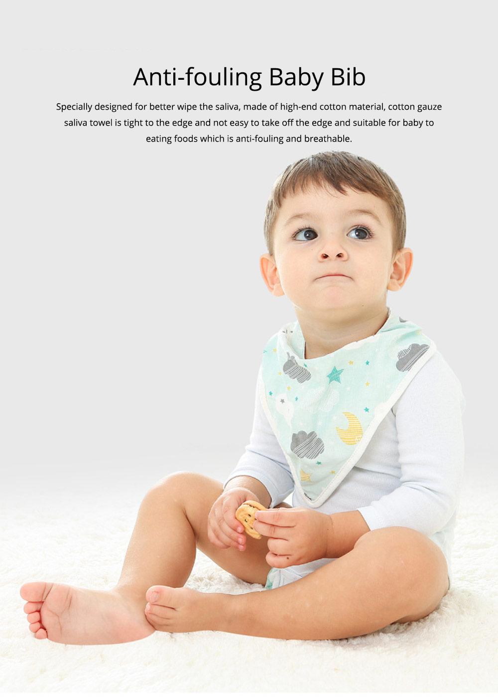 Baby Cotton Gauze Saliva Towel with Dark Buckle Design & Ultra-soft Bag Edge Design, Baby Bib with Cute Cartoon Design 0