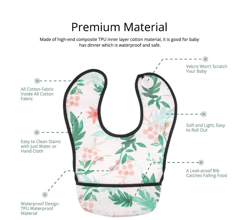 Waterproof & Anti-fouling Baby Bib with Large Capacity Rice Pocket & Velcro Design Baby Bib 1