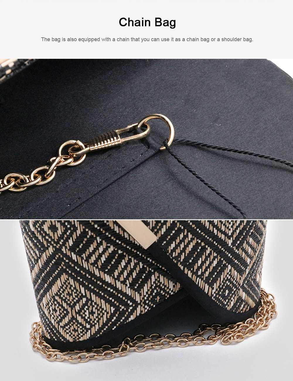 Weave Evening Purse for Woman, Fashionable Hand Clutch Bag, Diamond-shape Handbag for Party, Banquet Chain Bag Shoulder Bag 4