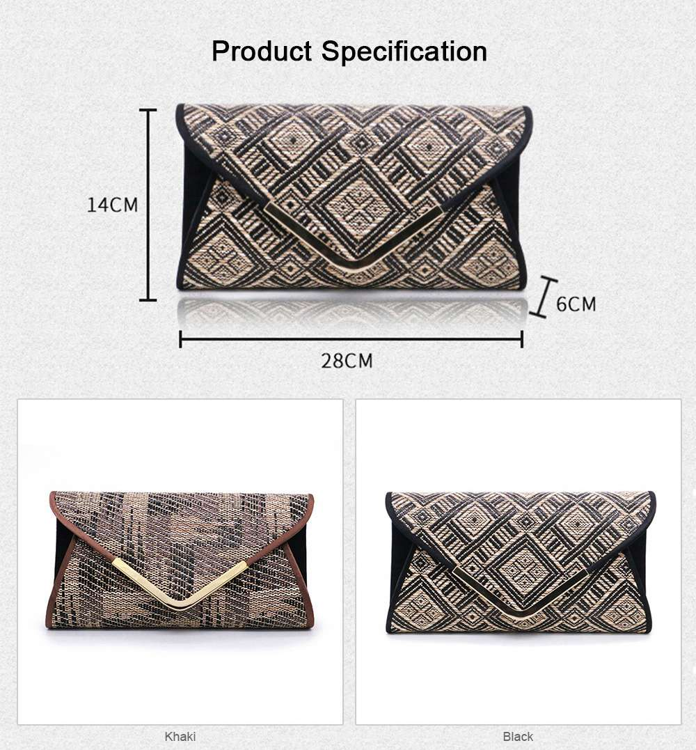 Weave Evening Purse for Woman, Fashionable Hand Clutch Bag, Diamond-shape Handbag for Party, Banquet Chain Bag Shoulder Bag 6
