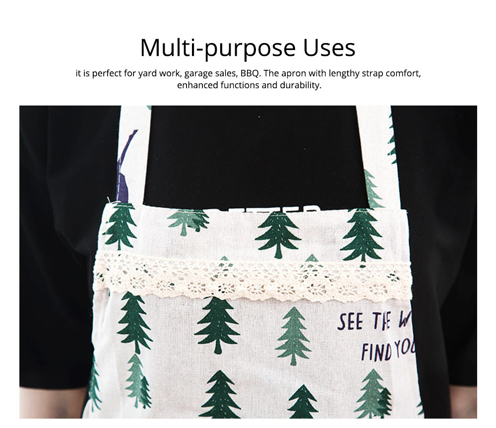 Cotton & Linen Fabric Art Apron with Fresh Pattern & Waterproof & Oil-proof for BBQ, Baking, Cooking for Men & Women 2