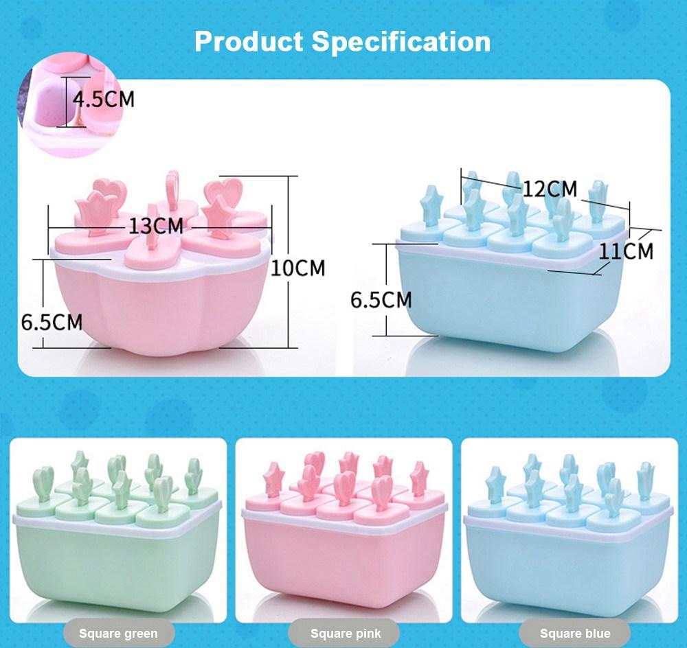 DIY Ice Cream Popsicles Mould Set, 6pcs 8pcs Homemade Ice Cream Set, DIY Safe Ice Cream Mold Maker Hollow Design 6