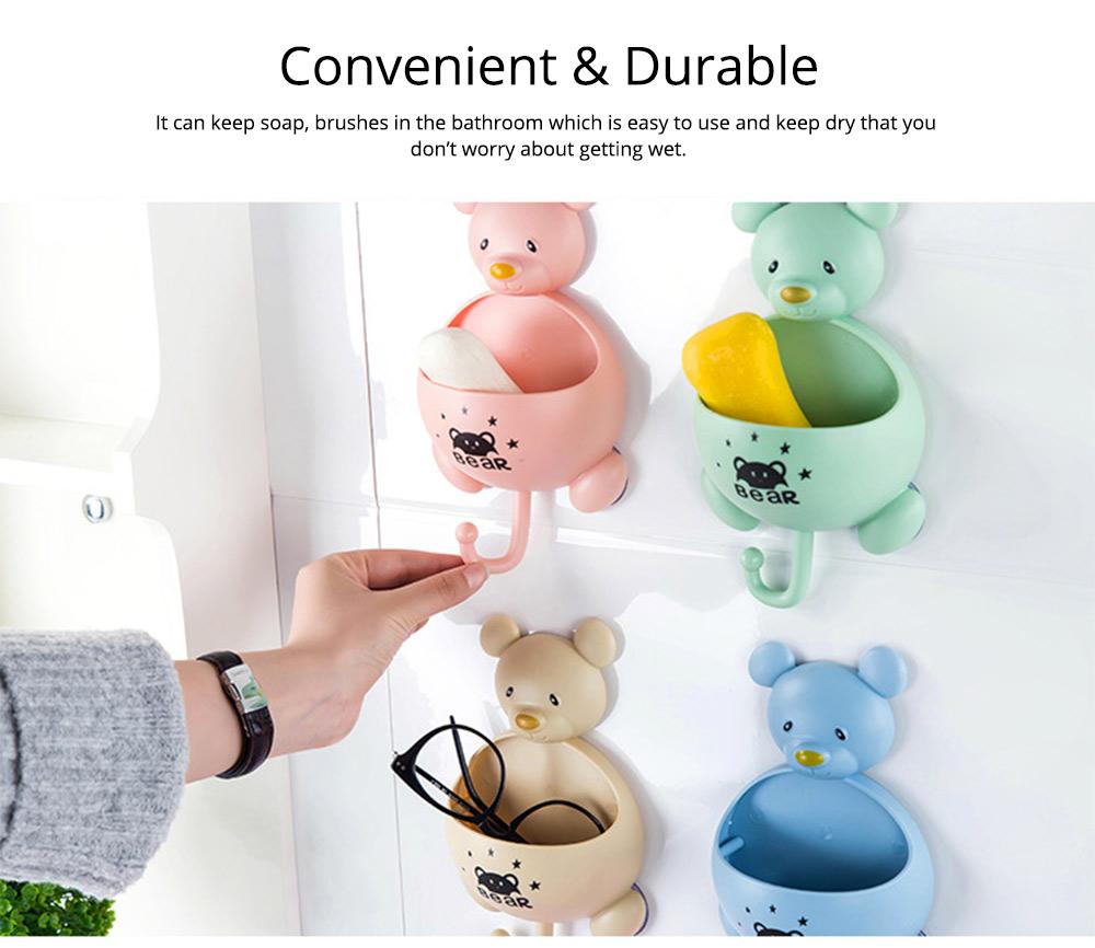Wall Mounted Creative Bathroom Soap Box, Multifunctional Cartoon Mouse Hook Storage Box with Magic Sucker 4