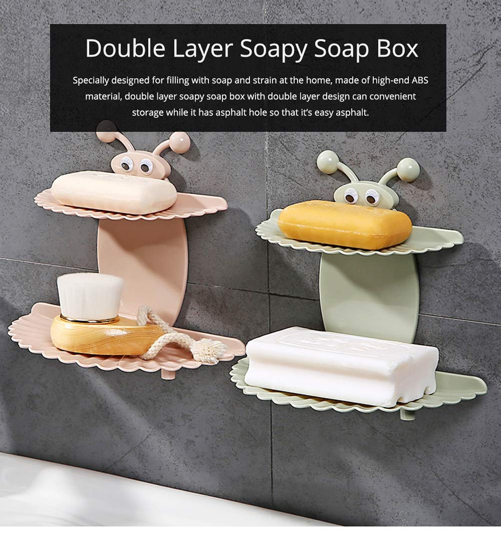 Double Layer Soapy Soap Box with Asphalt Hole, Convenient Storage Soap Container 0