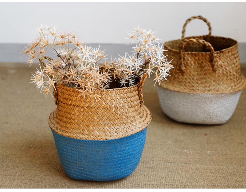 Straw Plait Collapsible Storage Basket to Contain Handle, Green Plant Flower Basket Flower Implement Rattan Woven Home Goods Basket 5