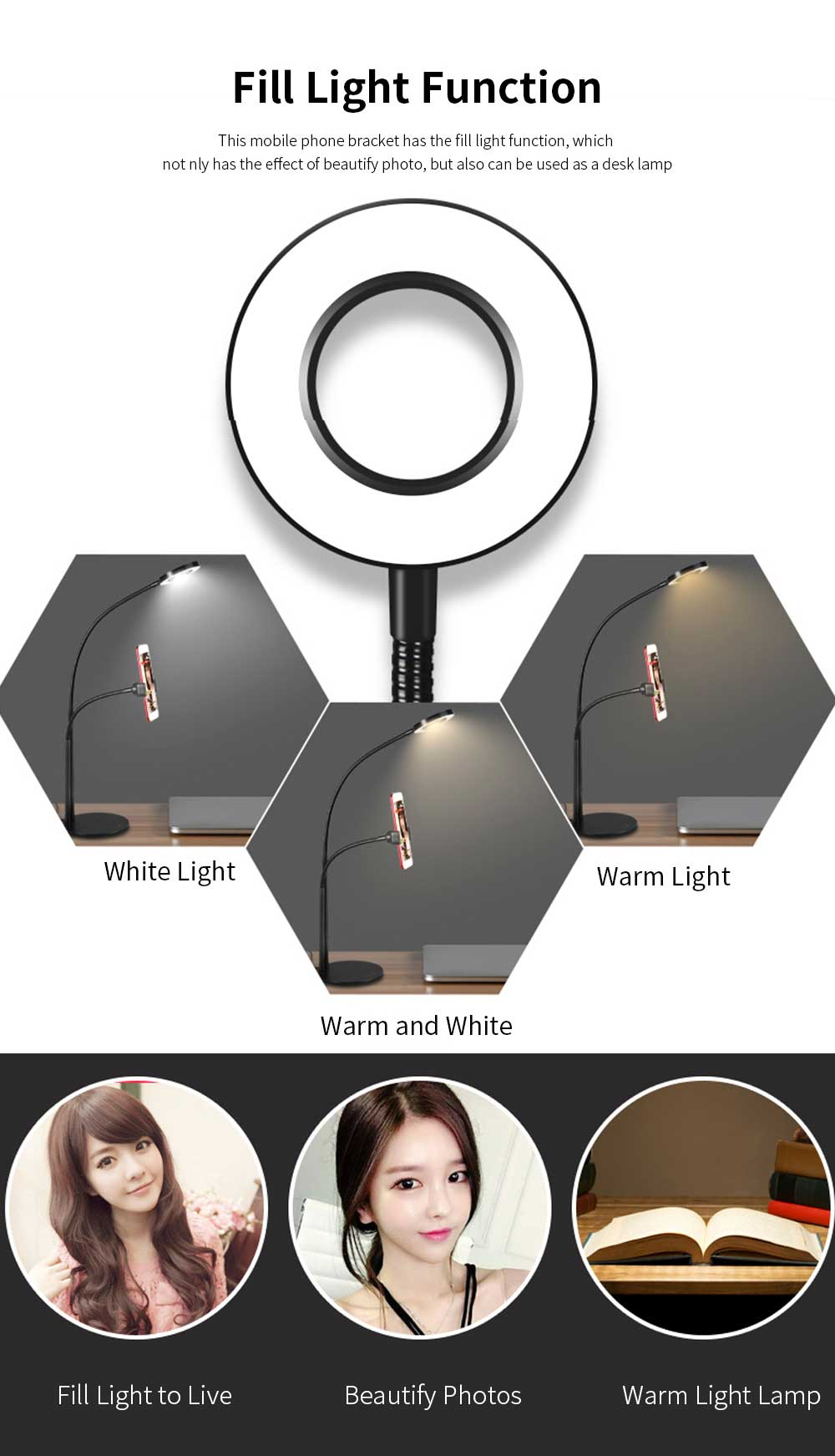 3 in 1 Broadcast Mic Stand With Selfie Ring Light Cellphone Stand Microphone Holder for Live Stream 3 Light Color with Adjustment Gooseneck Weigted Base For iPhone X, 8 Samsung S9 Note 8 Black 1
