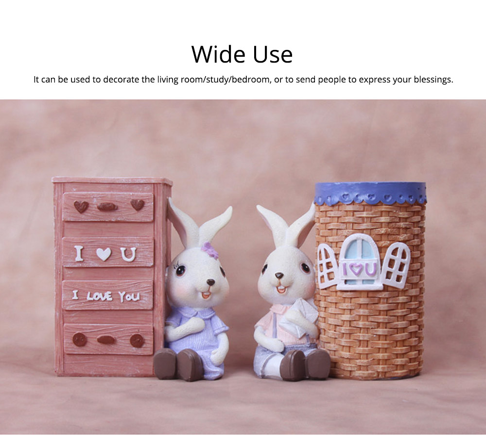 Little Pure Resin Rabbit with Bright Color & Cute Face Expression for Crafts, Couple Gifts Rabbit Creative Decorations, Birthday Gifts 3