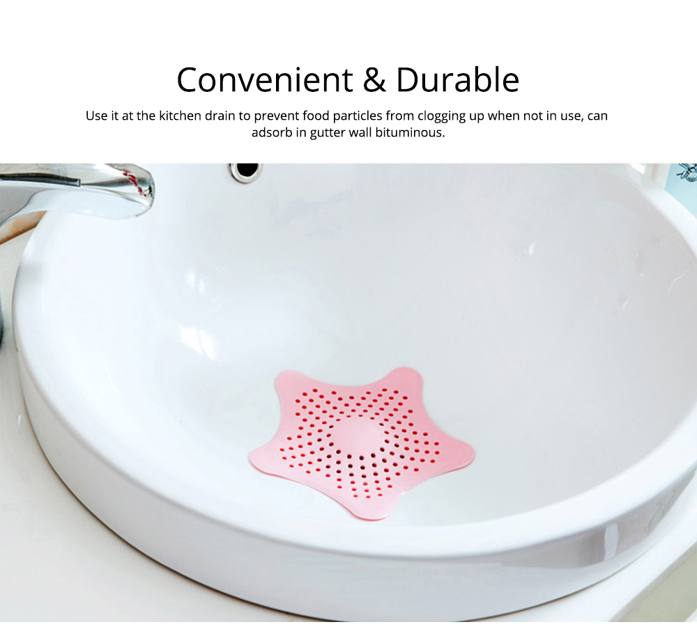 Starfish Shaped Sucker Floor Drain Cover with Strong Sucker Design & Dense Hole, Leaky Sink Cover Prevent Leakage & Stink Proof 5