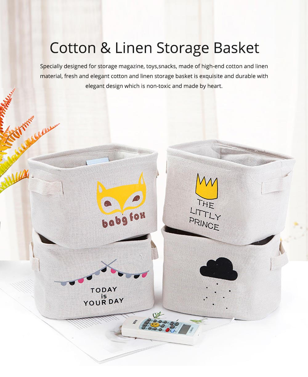 Cartoon Cotton & Linen Household Bedroom Storage Box Storage Basket with Double Handle for Magazine, Toys, Snacks 0