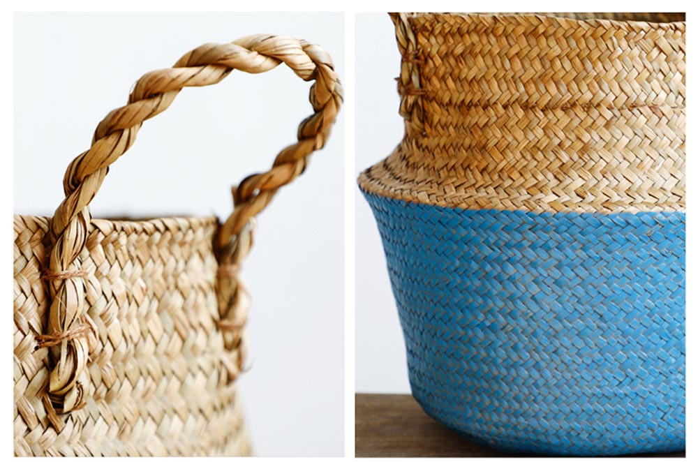 Straw Plait Collapsible Storage Basket to Contain Handle, Green Plant Flower Basket Flower Implement Rattan Woven Home Goods Basket 2