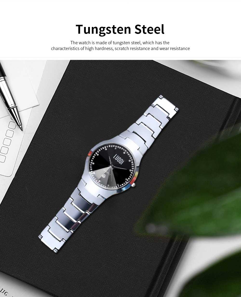 Tungsten Steel Watch for Men Fashion Cool Black Quartz Movement Waterproof 3D Watch Case WristWatch Stylish Couple Watches 1