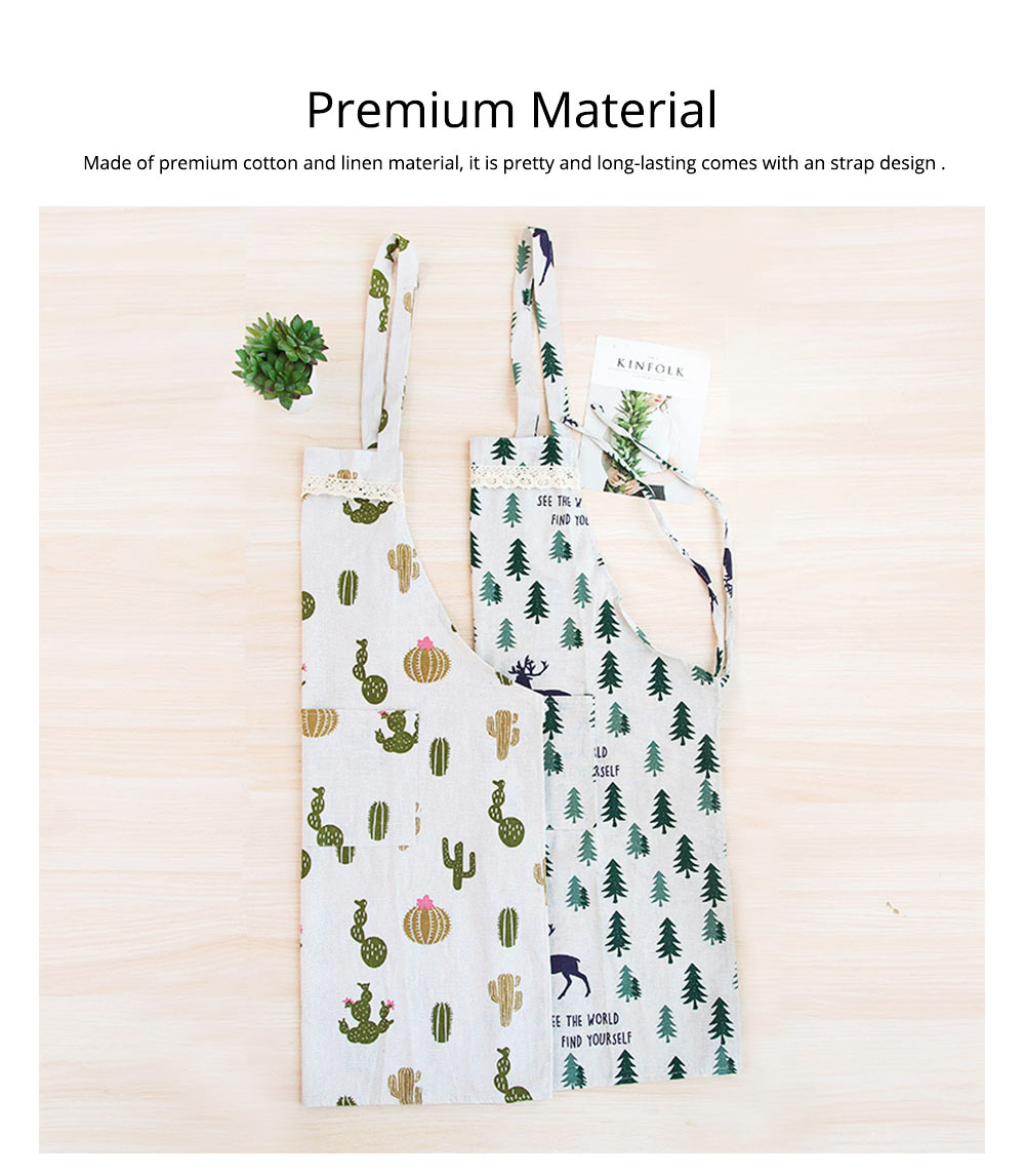 Cotton & Linen Fabric Art Apron with Fresh Pattern & Waterproof & Oil-proof for BBQ, Baking, Cooking for Men & Women 1