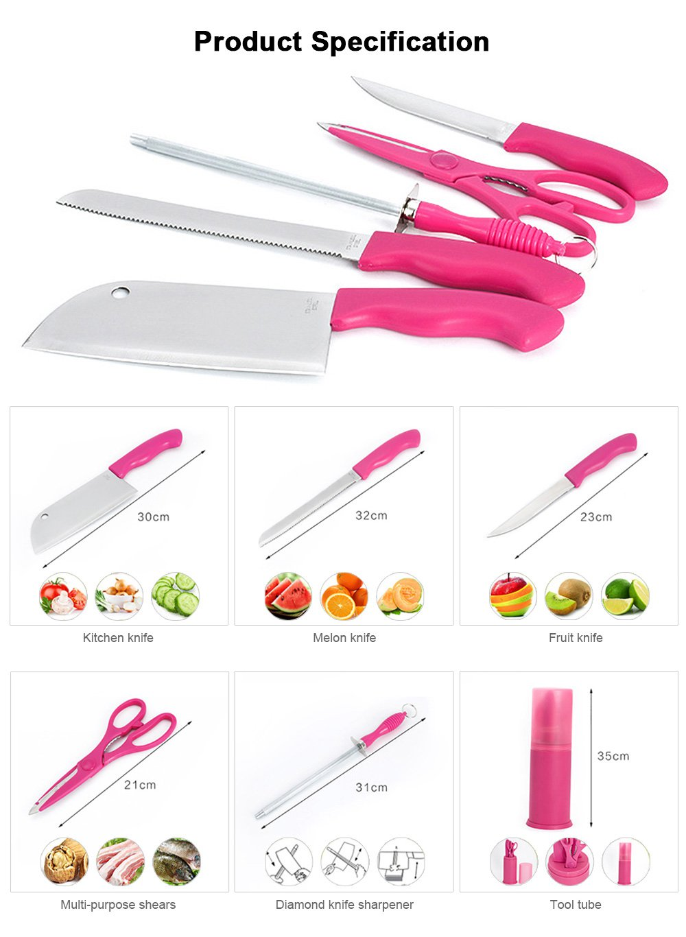 Portable Multiple-use Picnic Knife Set with Stainless Steel Kitchen Knife, Use as Scissors, Frozen Meat Knife, Sharpener, Fruit Knife Set 4