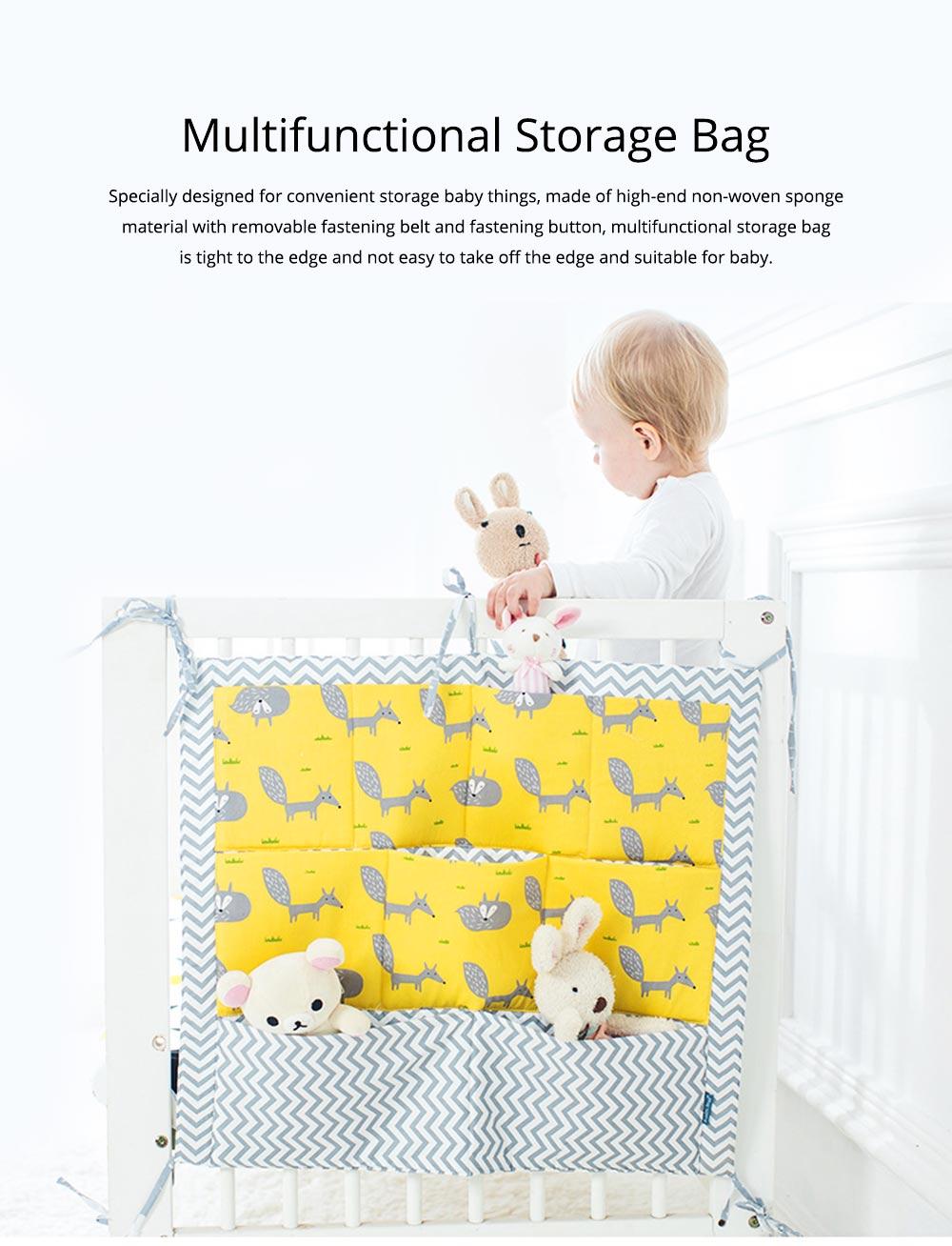 Multi-layer Cotton Cot Storage Bag Cartoon Multi-function Bed Baby Diaper Storage Bag 0