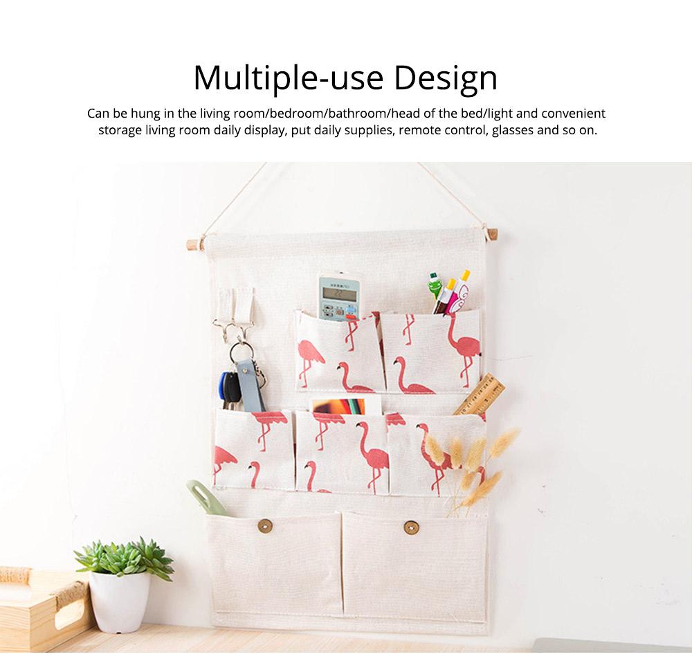 Printed Multiple Pocket Hanging Bag Wall Hanging Bag with Wooden Stick & Cotton Rope Design Storage Bag 3