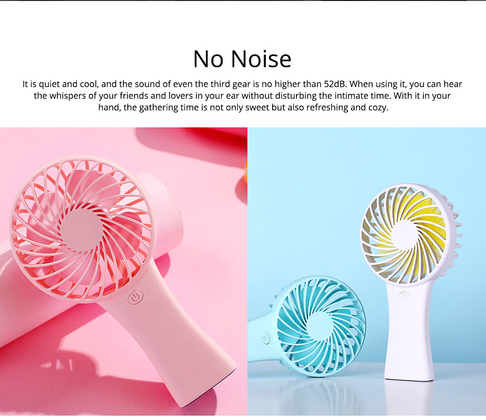 Silent USB Mini Fan with Large Capacity Outdoor Hand Held Charging Portable Mini Fan with Hang Rope Hole 4