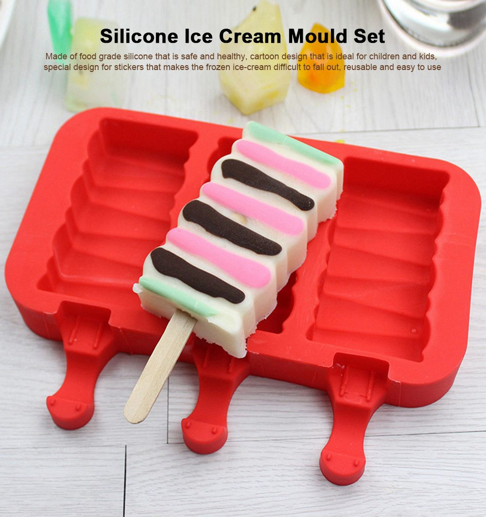 Silicone DIY Cartoon Ice Cream Mould, Popsicles Mould Set, 2pcs 3pcs Homemade Ice Cream Set, DIY Ice Cream Mold Maker 0