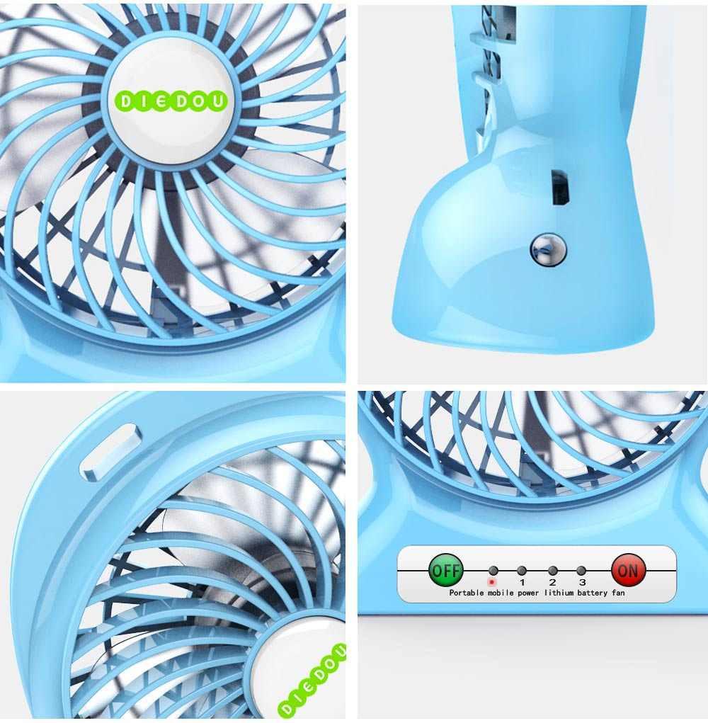 Silent USB Mini Fan with Three Wind Speed, Outdoor Portable Hand Held Mini Fan with Large Capacity Charging 7