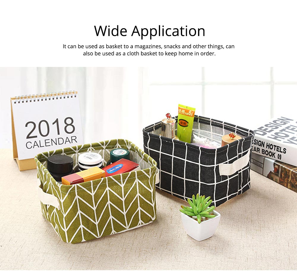 Strong Durable Fresh & Elegant Cotton Linen Storage Basket with Double Handle for Magazine, Toys, Snacks 4