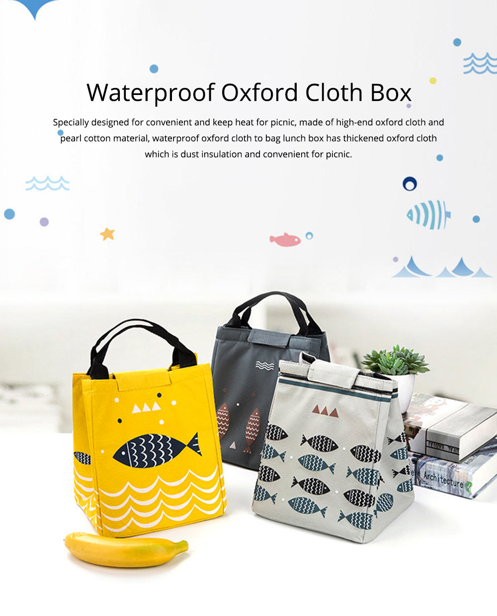 Waterproof Oxford Cloth to Bag Lunch Box Bag with Rice Bag with Heat Preservation & Large Capacity for Going to Work, School, Travel 0