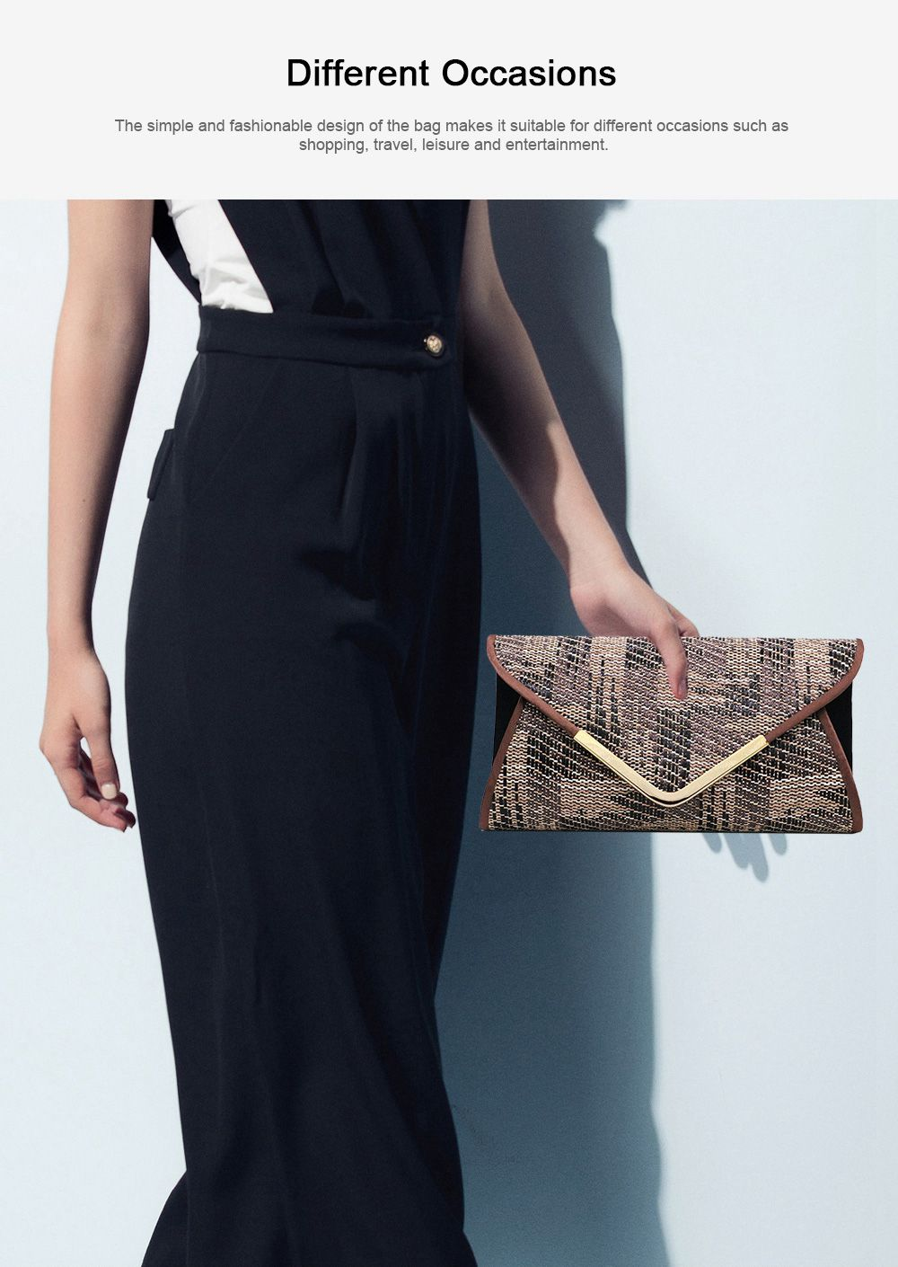 Weave Evening Purse for Woman, Fashionable Hand Clutch Bag, Diamond-shape Handbag for Party, Banquet Chain Bag Shoulder Bag 5