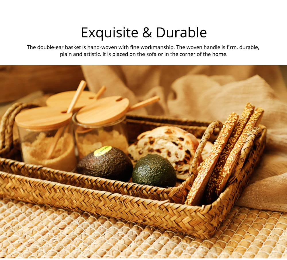 Hand Woven Fruit Tray Straw Tray Rectangular Storage Basket, Portable Seaweed Carrying Basket for Household Use 3