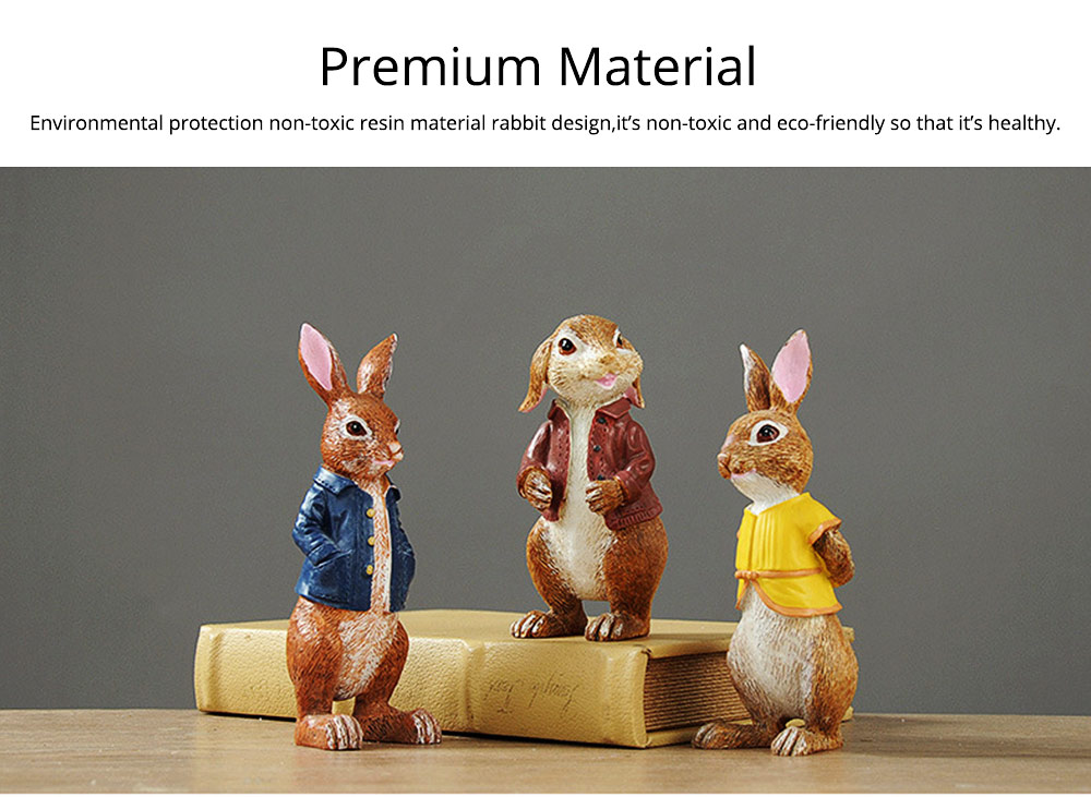 A Family of Three Rabbits with Bright Color & Cute Face Expression for Crafts, Couple Gifts Rabbit Creative Decorations, Birthday Gifts 1