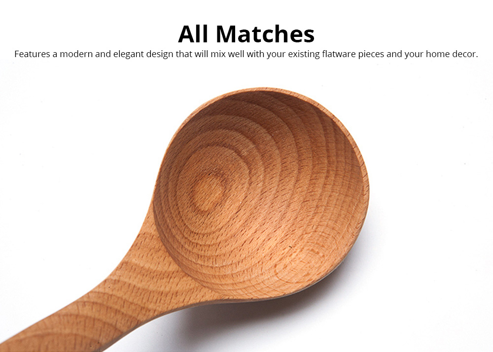 Spoons Unpainted Solid Wood Long Handle Household Wooden Spoon Fashion Kitchen Accessories Deepen Large Soup Spoon 2