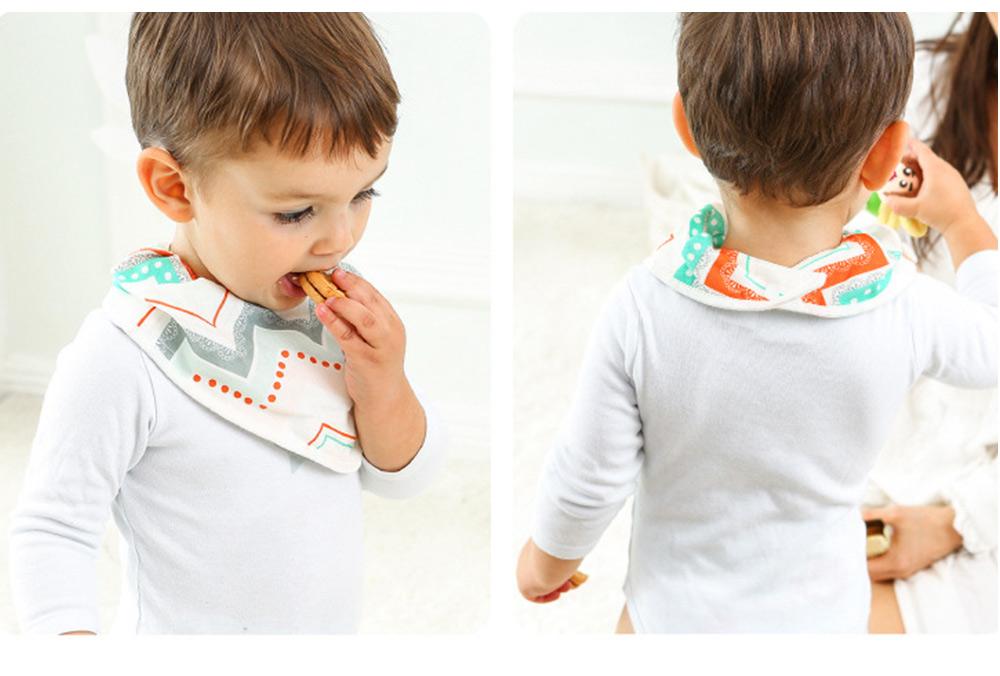 Baby Cotton Gauze Saliva Towel with Dark Buckle Design & Ultra-soft Bag Edge Design, Baby Bib with Cute Cartoon Design 4