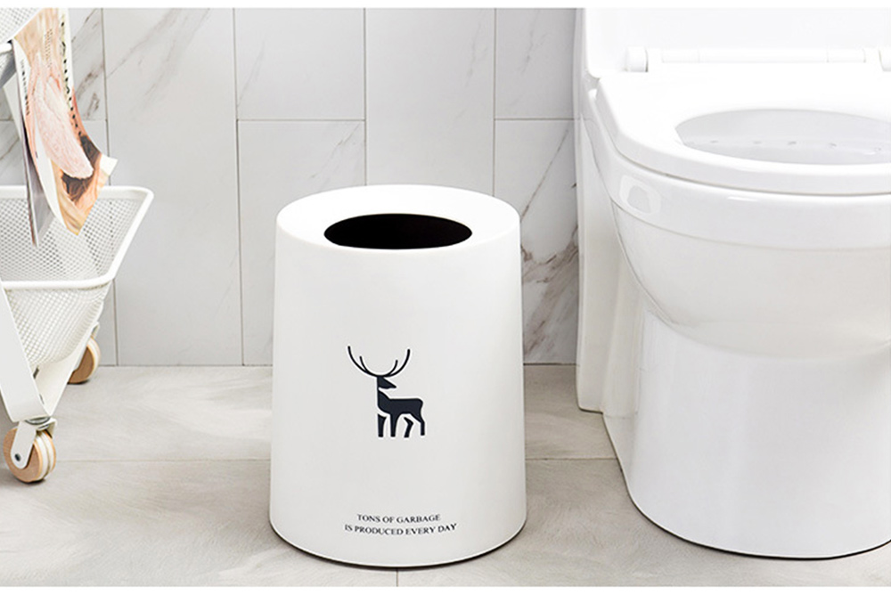 Double-layer Circular Trash Can with Creative Reindeer Pattern and Open Hatch & Internal  External Dual Pass Design 3