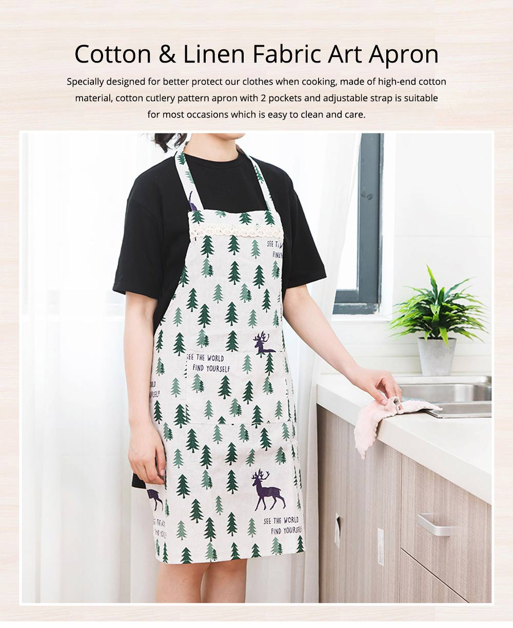 Cotton & Linen Fabric Art Apron with Fresh Pattern & Waterproof & Oil-proof for BBQ, Baking, Cooking for Men & Women 0