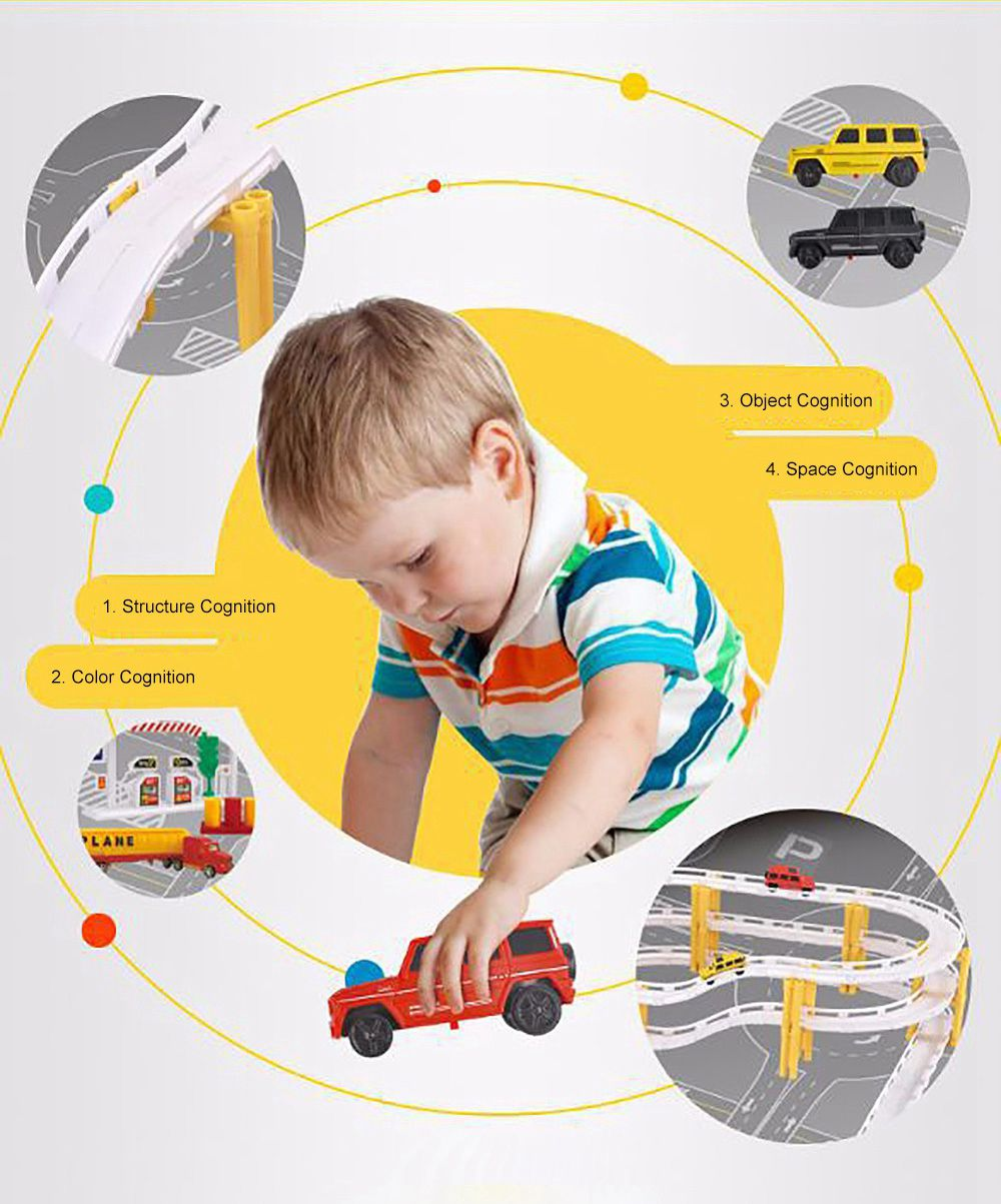 Simulation Model Police Car for Children & Kids, Electric Rail Car Toy Hovering Car Rail Track for 4 – 6 Years Old Boy, Engineering Series Toy 2