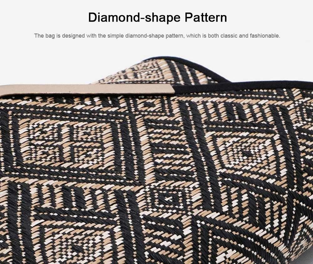 Weave Evening Purse for Woman, Fashionable Hand Clutch Bag, Diamond-shape Handbag for Party, Banquet Chain Bag Shoulder Bag 3