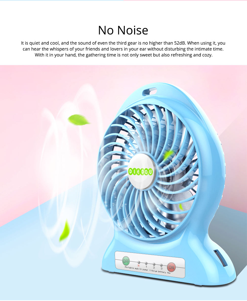 Silent USB Mini Fan with Three Wind Speed, Outdoor Portable Hand Held Mini Fan with Large Capacity Charging 3