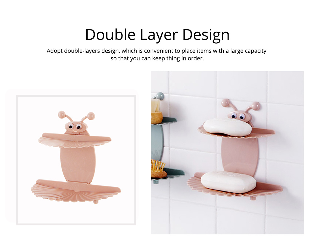 Double Layer Soapy Soap Box with Asphalt Hole, Convenient Storage Soap Container 3