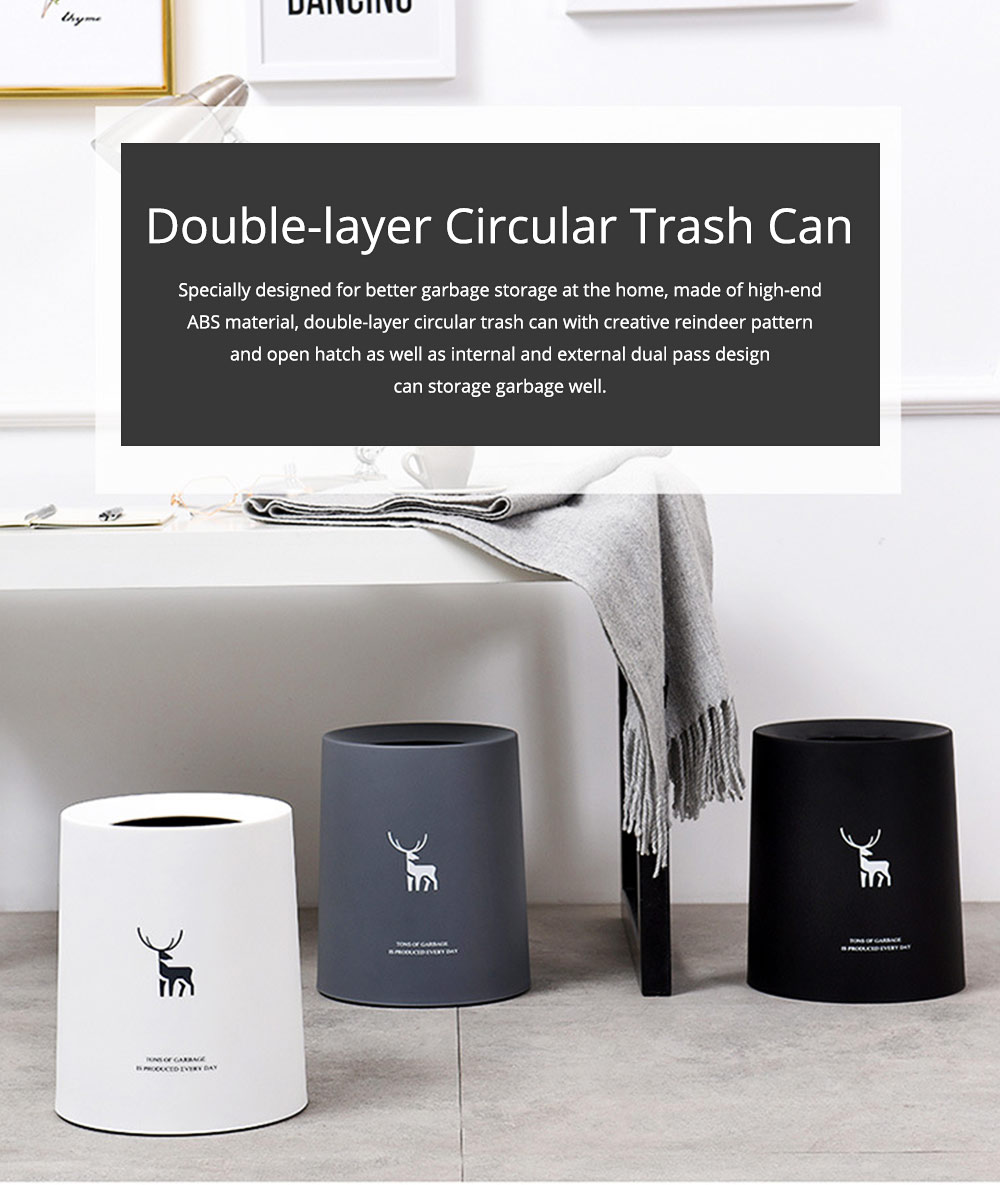 Double-layer Circular Trash Can with Creative Reindeer Pattern and Open Hatch & Internal  External Dual Pass Design 0