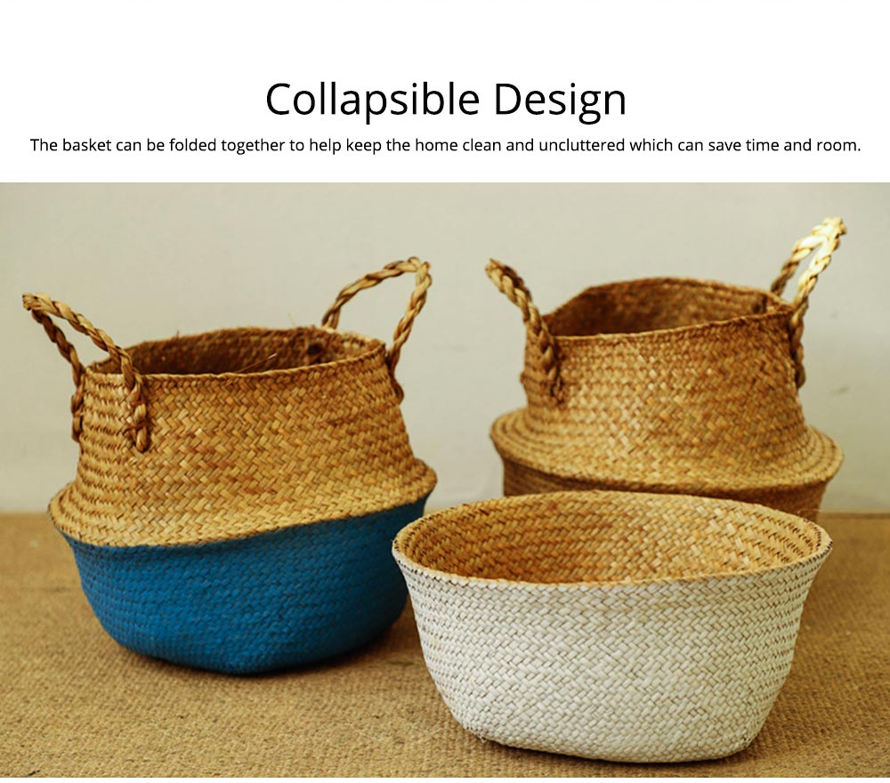 Straw Plait Collapsible Storage Basket to Contain Handle, Green Plant Flower Basket Flower Implement Rattan Woven Home Goods Basket 8