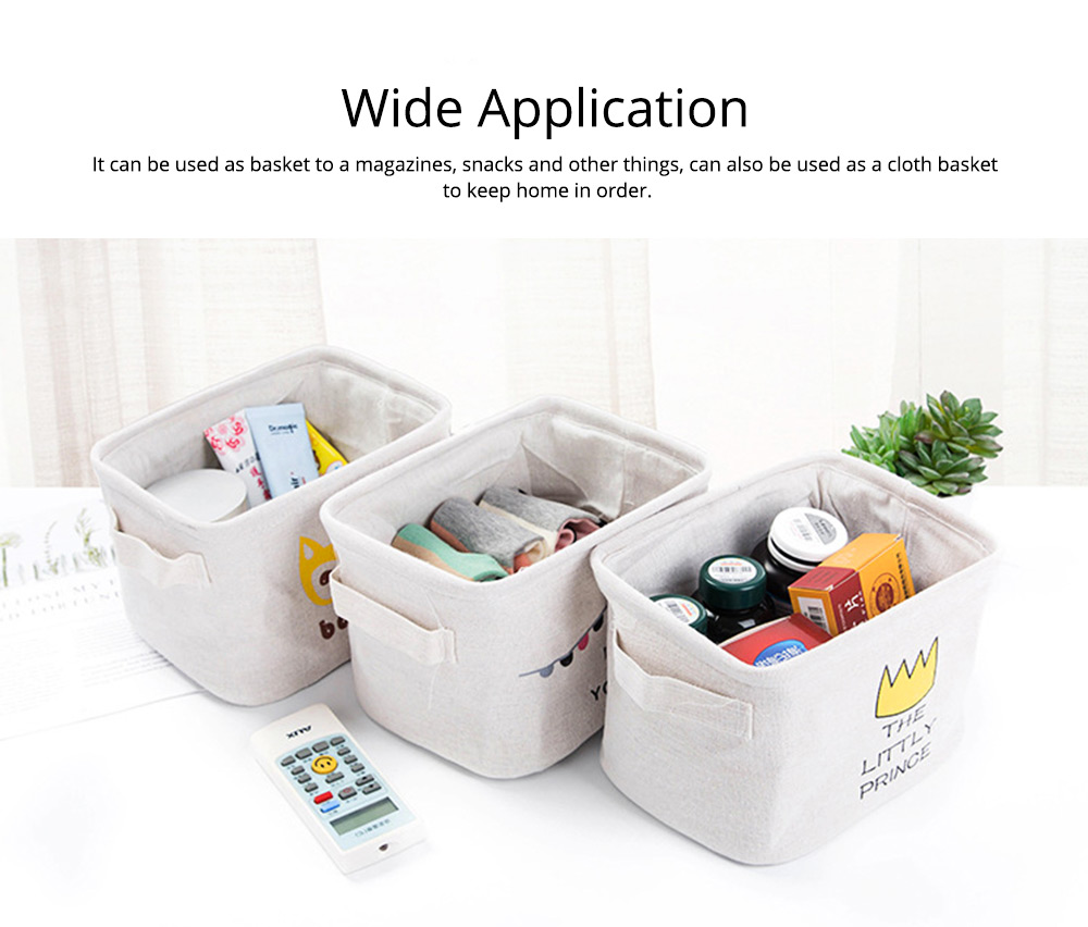 Cartoon Cotton & Linen Household Bedroom Storage Box Storage Basket with Double Handle for Magazine, Toys, Snacks 5