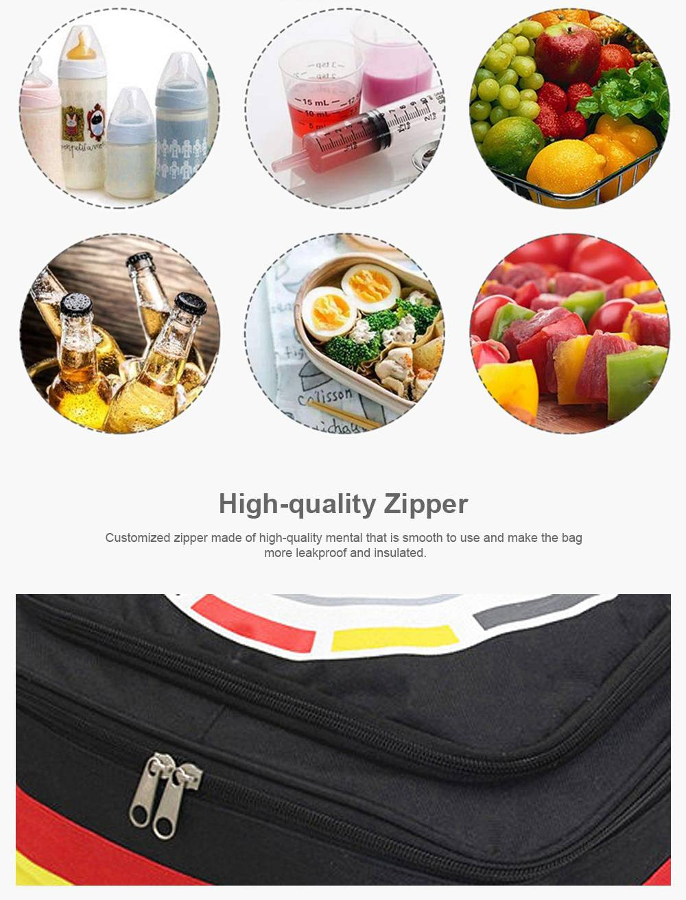 Insulated Lunch Bag for Outdoor, Picnic, BBQ, Reusable and Portable Picnic Tote Bag, Leakproof Ice Cooler Bag Storage Shoulder Bag 1200ML 4
